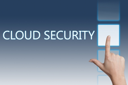 Cloud computing technology, networking concept: words cloud security on digital touchscreen. photo
