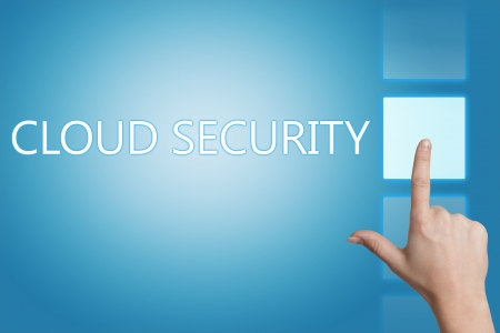 Cloud computing technology, networking concept: words cloud security on digital touchscreen. Stock Photo - 20280275