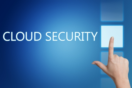 Cloud computing technology, networking concept: words cloud security on digital touchscreen. Stock Photo - 20280267