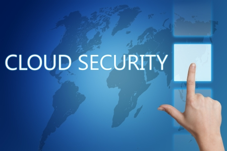 Cloud computing technology, networking concept: words cloud security on digital world map touchscreen. photo
