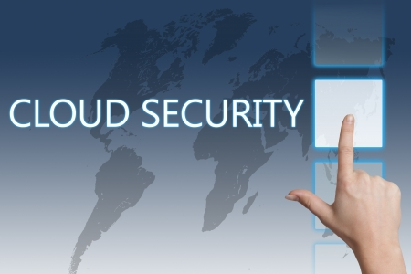 Cloud computing technology, networking concept: words cloud security on digital world map touchscreen. Stock Photo - 20280292