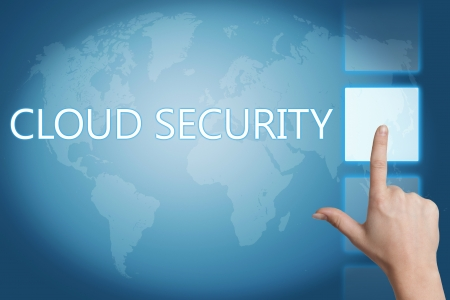 Cloud computing technology, networking concept: words cloud security on digital world map touchscreen. Stock Photo - 20280233