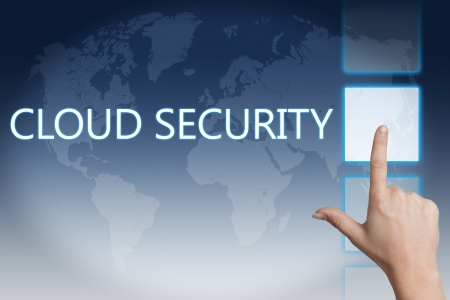 Cloud computing technology, networking concept: words cloud security on digital world map touchscreen. Stock Photo - 20280298