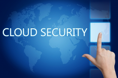 Cloud computing technology, networking concept: words cloud security on digital world map touchscreen. Stock Photo - 20280240