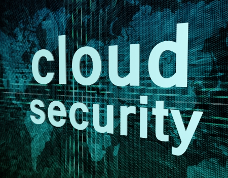 Cloud computing technology, networking concept: words cloud security on digital world map screen. Stock Photo - 20280212