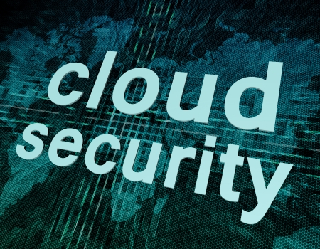Cloud computing technology, networking concept: words cloud security on digital world map screen. Stock Photo - 20280210