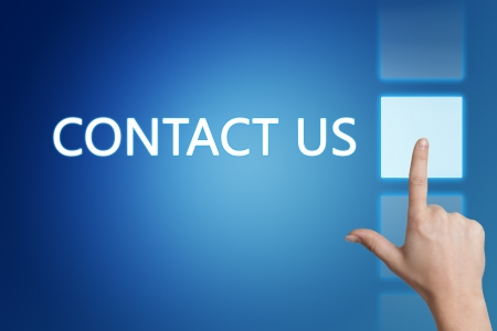 advertise with us: Marketing concept: words Contact us on blue background.  Stock Photo