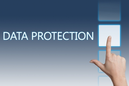 Security concept: words data protection on digital screen photo