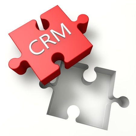 ciclo de vida: Customer Relationship Management - CRM: concepto 3D Puzzle
