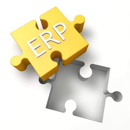 erp: 3d Puzzle concept: ERP - Enterprise Resource Planning Stock Photo