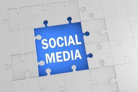 3d Puzzle concept: Social Media jigsaw pieces assembled photo