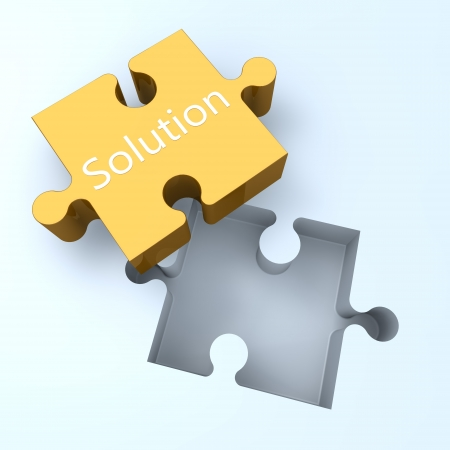 missing link: 3d Puzzle concept: Word Solution on jigsaw piece