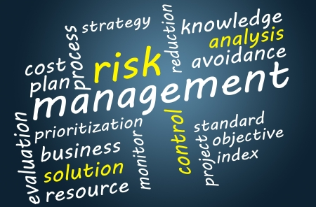 prioritization: Business concept: Risk management in word tag cloud