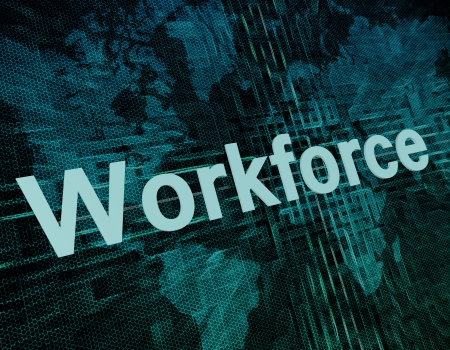 Job, work concept: word Workforce on digital world map screen photo