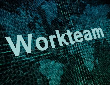workteam: Job, work concept: word Workteam on digital world map screen