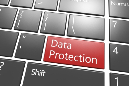 赤いデータ保護キーでセキュリティの概念: 現代キーボード