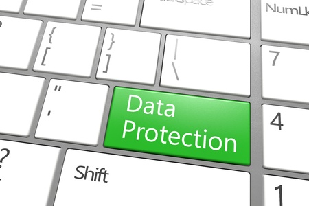 encoding: Security Concept: modern keyboard with a green Data Protection key Stock Photo