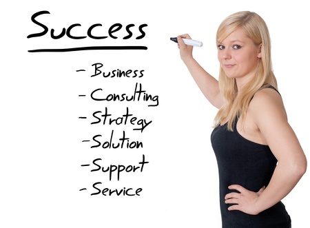 Businesswoman explain how to be successful on whiteboard photo