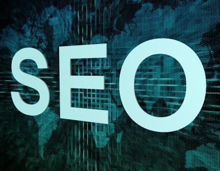 Words on digital world map concept: SEO Stock Photo - 20873002