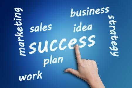 Wordcloud concept: Success Tagcloud on blue background photo