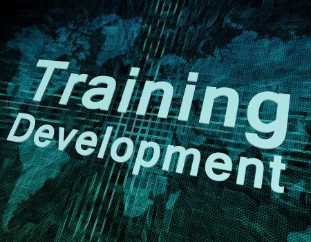 Words on digital world map concept: Training Development Stock Photo - 20873042