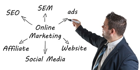 network marketing: Marketing concept: businessman write online marketing schema on whiteboard Stock Photo