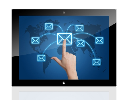Communication concept: Tablet PC with a Hand pressing a letter icon on a world map interface Stock Photo - 21004505