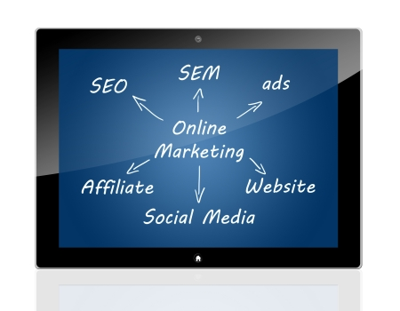 Marketing concept: online marketing schema on Tablet PC photo