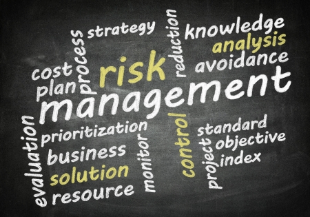 risk management word cloud concept on chalkboard photo