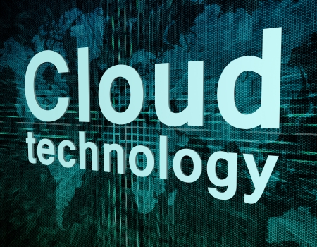 Words on digital world map concept: Cloud technology Stock Photo - 21128274