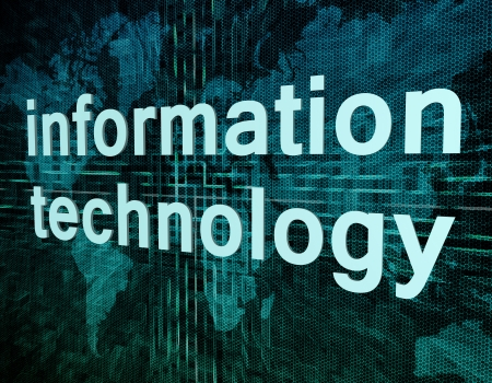Words on digital world map concept: information technology Stock Photo - 21128284
