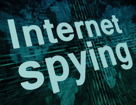 cyber war: Words on digital world map concept: Internet spying