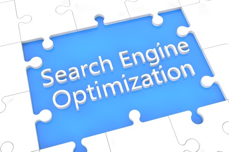 puzzle with words on blue background concept: Search Engine Optimization photo