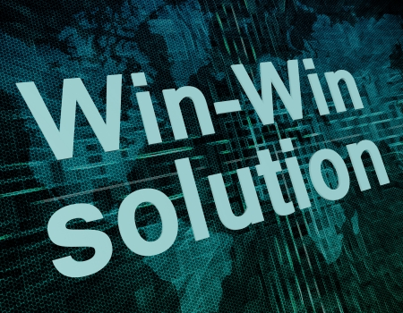 Words on digital world map concept: Win-Win solution photo
