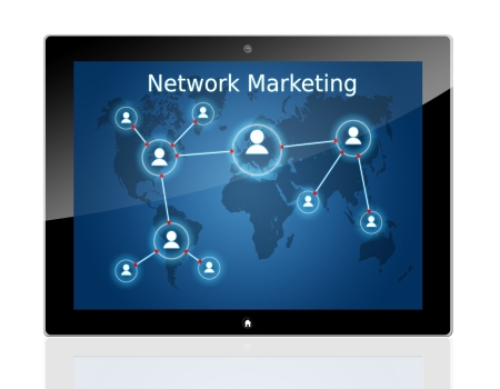 network marketing: internet business concept: tablet pc with a network marketing interface Stock Photo