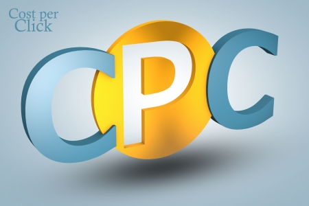 advertiser: acronym concept: CPC for Cost per Click on blue background