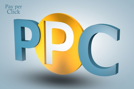 acronym concept: PPC for Pay per Click on blue background photo