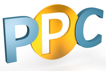 acronym concept: PPC for Pay per Click isolated on white background photo