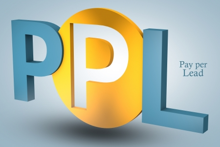 advertiser: acronym concept: PPL for Pay per Lead on blue background