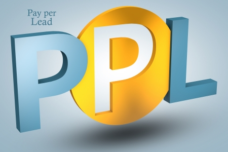 acronym concept: PPL for Pay per Lead on blue background Stock Photo - 21411695