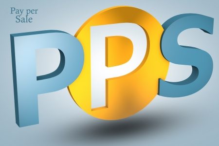 acronym concept: PPS for Pay per Sale on blue background photo