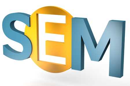 sem: acronym concept: SEM for Search Engine Marketing isolated on white background