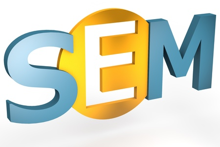emarketing: acronym concept: SEM for Search Engine Marketing isolated on white background