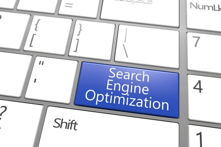 SEO concept: blue Search Engine Optimization key on white keyboard Stock Photo - 21411706