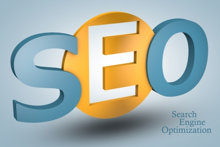 acronym concept: SEO for Search Engine Optimization on blue background photo