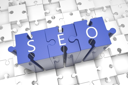Puzzle concept: acronym SEO on blue jigsaw pieces photo