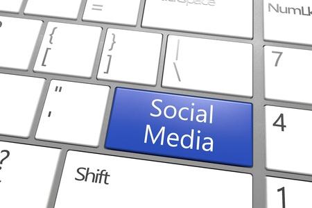 Social Media concept: blue Social Media key on white background Stock Photo - 21411713