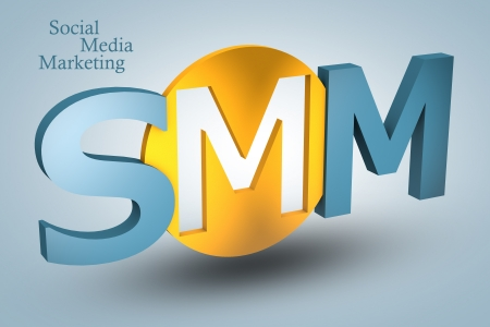 acronym concept: SMM for Social Media Marketing on blue background photo