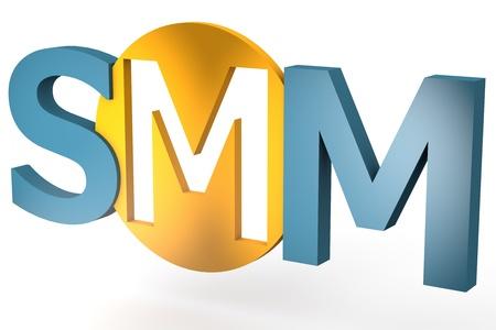 smm: acronym concept: SMM for Social Media Marketing isolated on white background