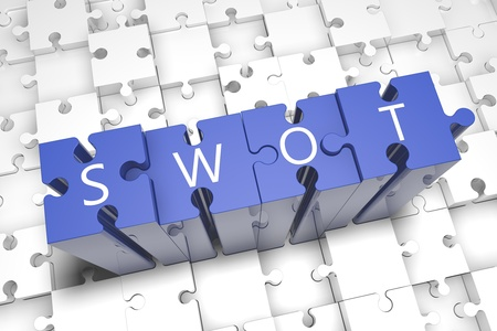 Puzzle concept: acronym SWOT on blue jigsaw pieces photo